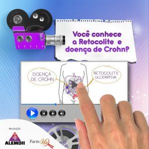 imagem com uma filmadora, com uma mão apontando para a tela onde tem uma imagem do vídeo. Logos ALEMDII e Farmale no canto esquerdo.