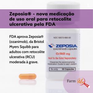 foto do frasco de plástico branco do medicamento e ao lado tem texto informativo que está no artigo e também foto de uma cápsula de cor amarelo.